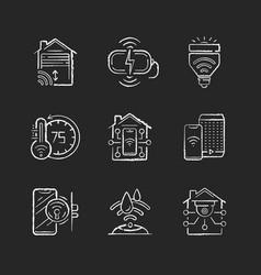smart home chalk white icons set on black vector image