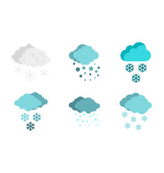 snow cloud icon set flat style vector image