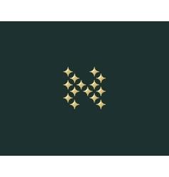 Stars letter N logotype Luxury abc icon vector image