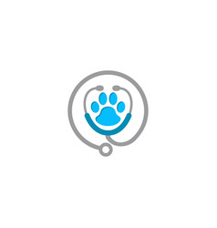 stethoscope paw silhouette animal print vector image