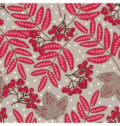 Stock seamless pattern with red leaves and berries vector