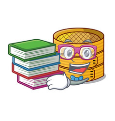 Student with bookstudent with book wooden steamed vector