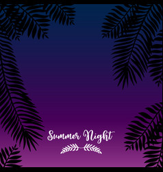 Summer night hand drawn tropic background vector