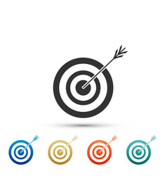 target with arrow icon dart board sign vector image