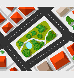 top view city map of the urban vector image