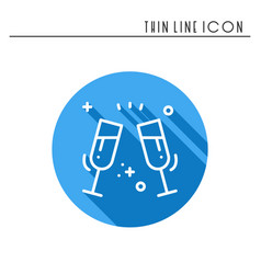 Two glasses toast icon binge drink champagne vector