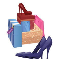 with shoe boxes and pairs of high-heel shoes vector image