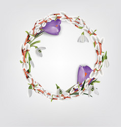 Wreath made of willow twigs crocus snowdrops vector