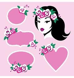beauty girl frames vector image vector image