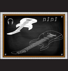 Guitar on a black vector