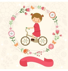 Little girl on bycicle vector image vector image