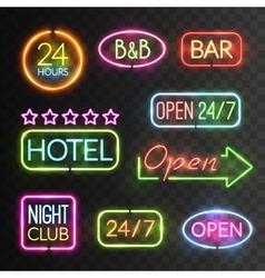 Neon Open Sign Set vector image