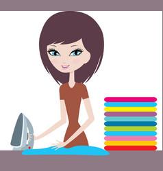 Young cartoon woman irons clothes vector image