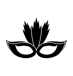 carnival mask with feathers pictogram vector image