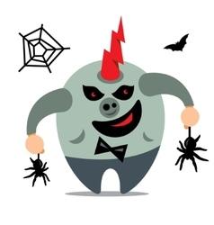 Halloween monster catcher spiders cartoon vector