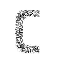 letters floral c vector image vector image