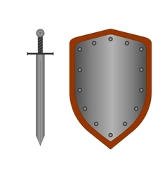 Set of sign shield and sword silver 2108 vector image vector image