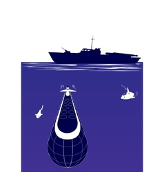 anti-submarine ship vector image vector image
