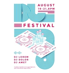Dj festival poster vector image vector image