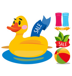 sale duckling swimming ring swimming mattress vector image vector image