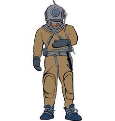 vintage deep sea diver suit vector image
