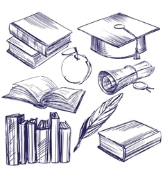 Books education vintage set hand drawn vector image vector image