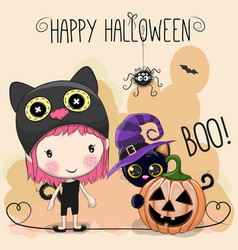 Halloween card with girl and cat vector