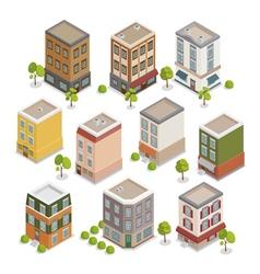 Isometric City Buildings Set European Houses vector image vector image