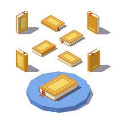 low poly isometric book vector image vector image