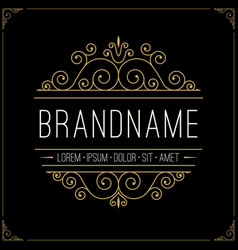 luxury logo in vintage style line art monogram vector image
