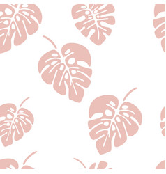 summer seamless pattern with pink monstera palm vector image vector image