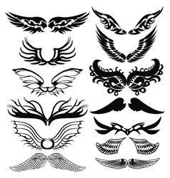 Tribal tattoo set of wings vector image