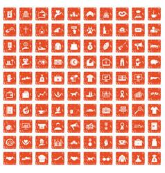 100 charity icons set grunge orange vector