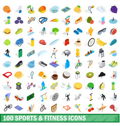 100 sport and fitness icons set isometric style vector