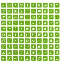 100 sushi bar icons set grunge green vector