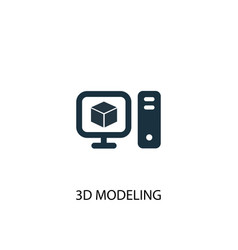3d modeling icon simple element vector