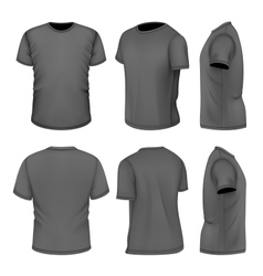 All six views mens black short sleeve t-shirt vector