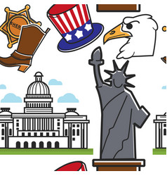 american symbols and architecture seamless pattern vector image