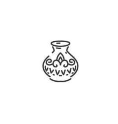 antique vase with patterns flat outline icon of vector image