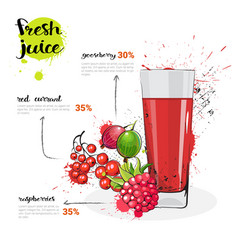 berries mix cocktail of fresh juice hand drawn vector image