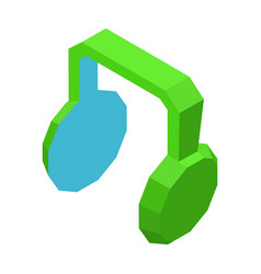 Big green headphones icon for music isolated vector