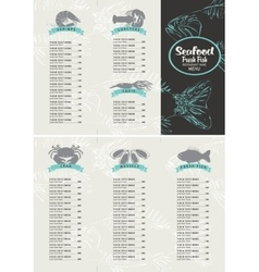 Booklet menu with price list for seafood vector