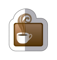 Brown small squard symbol of coffee cup vector