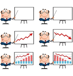 Business Manager Presenting On A Board Collection vector image