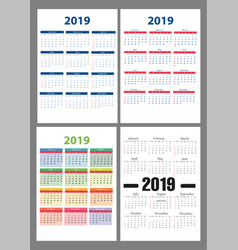 calendar 2019 colorful set week starts on vector image