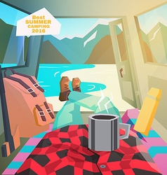 Car camping Summer camping View from car interior vector image