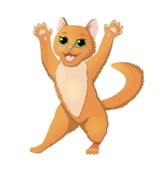 Cartoon cat raising hands vector