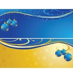 Christmas background blue and gold vector image