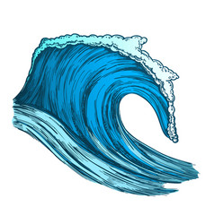 Color rushing tropical ocean marine wave storm vector
