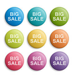 colorful circle buttons or badges design elements vector image